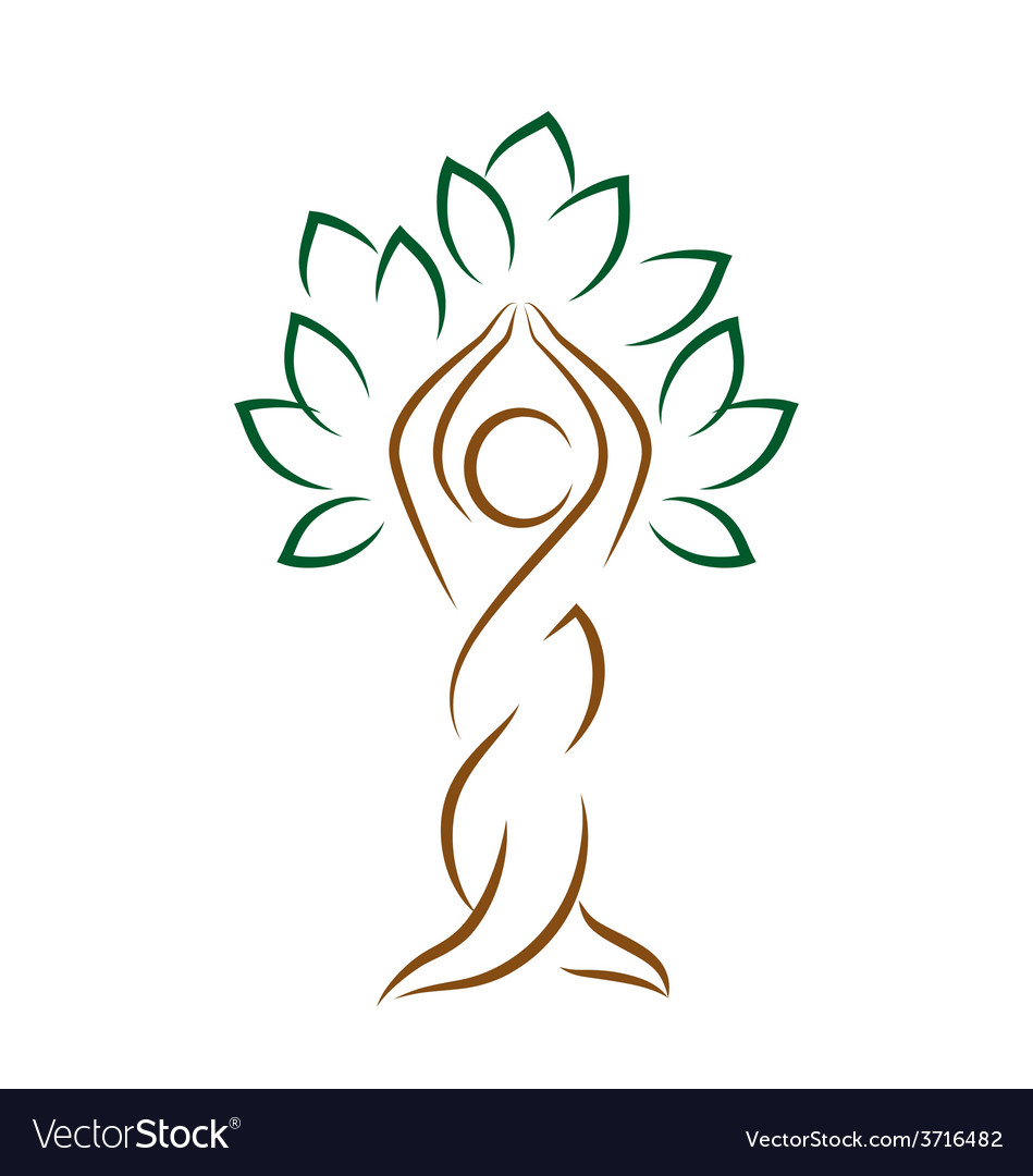 Yoga emblem with abstract tree pose isolated on