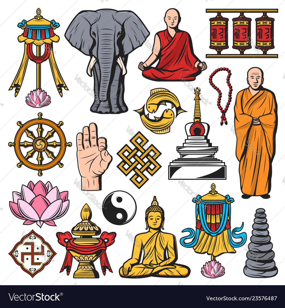 Buddhism religion isolated symbols