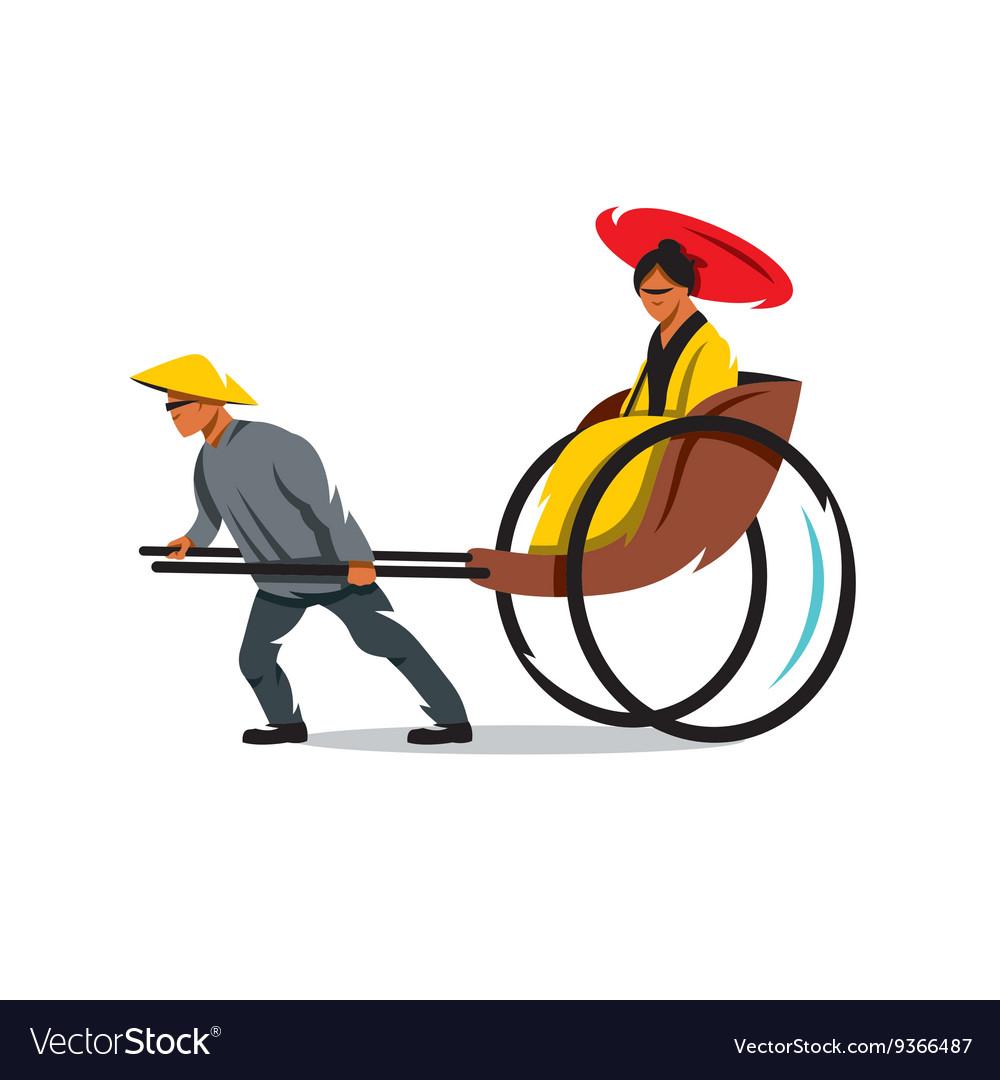 China Rickshaw Cartoon vector image