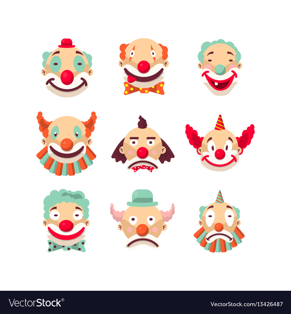 8df8c1ed8 Clown faces isolated icons set Royalty Free Vector Image