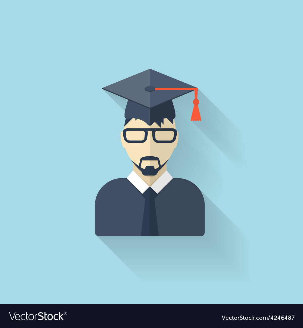 Flat teacher icon vector image