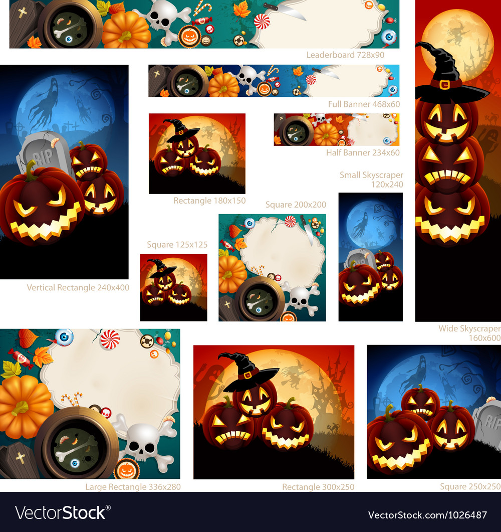 halloween banners royalty free vector image vectorstock rh vectorstock com Halloween Bat Vector Halloween Sign Vector PNG