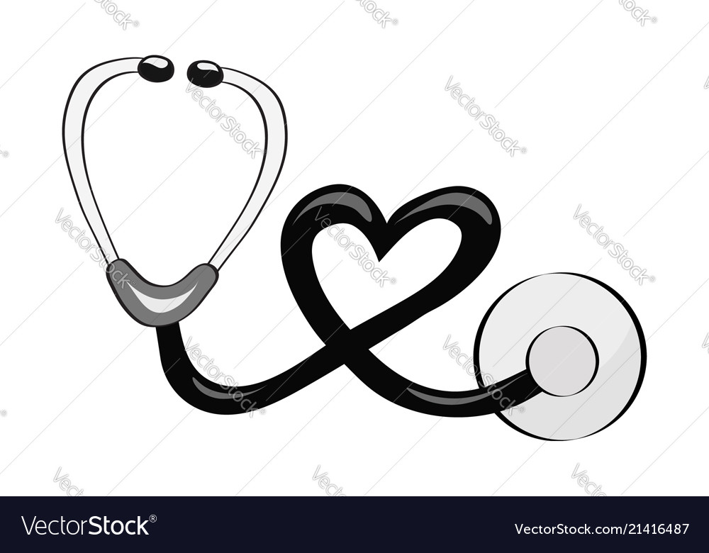 Hand draw stethoscope for the topic of medicine