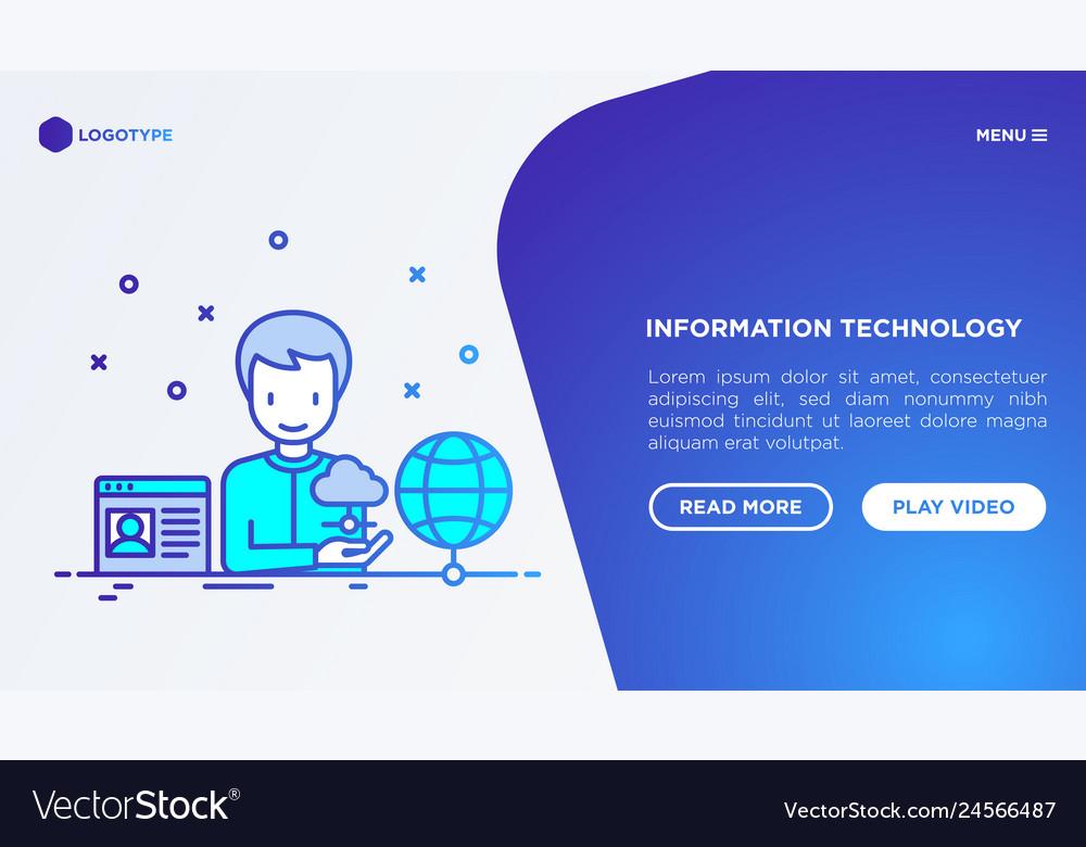 Information technology man using cloud service