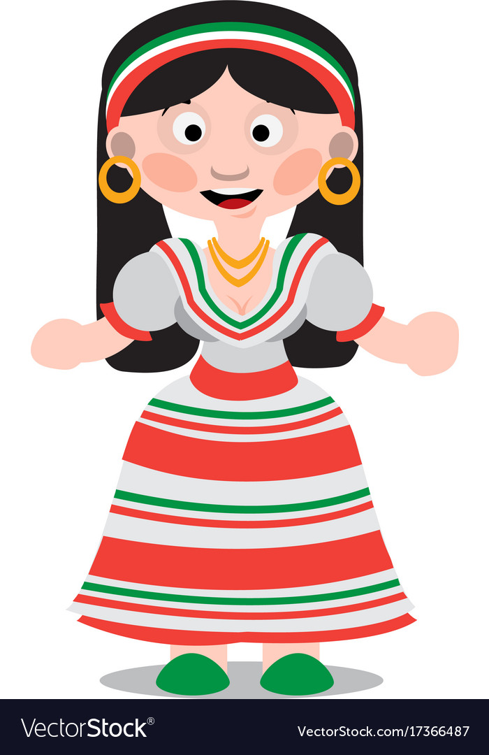 mexican dancer girl cartoon character woman with vector image rh vectorstock com little mexican girl cartoon mexican boy and girl cartoon