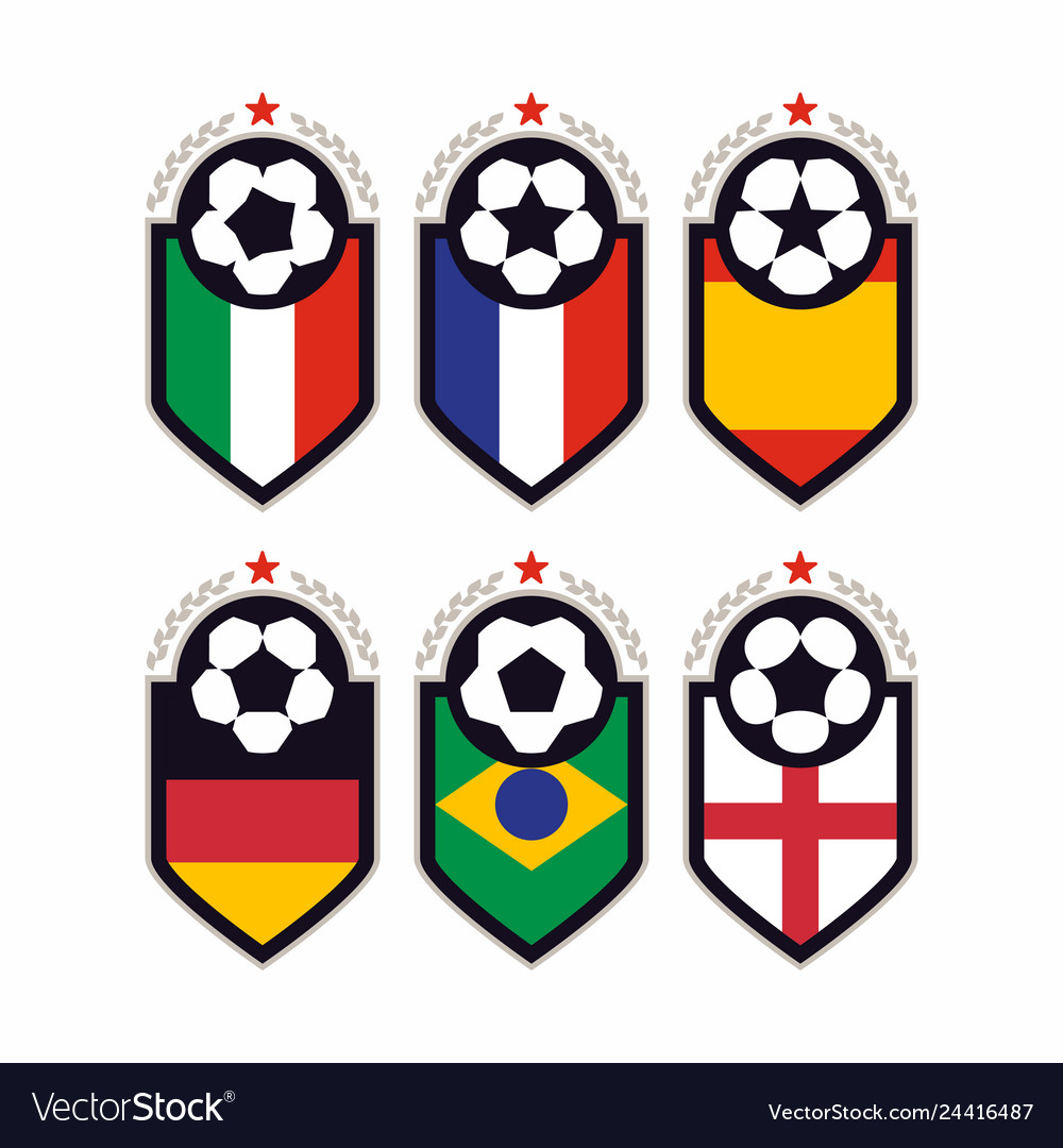 Modern professional set of balls emblem and