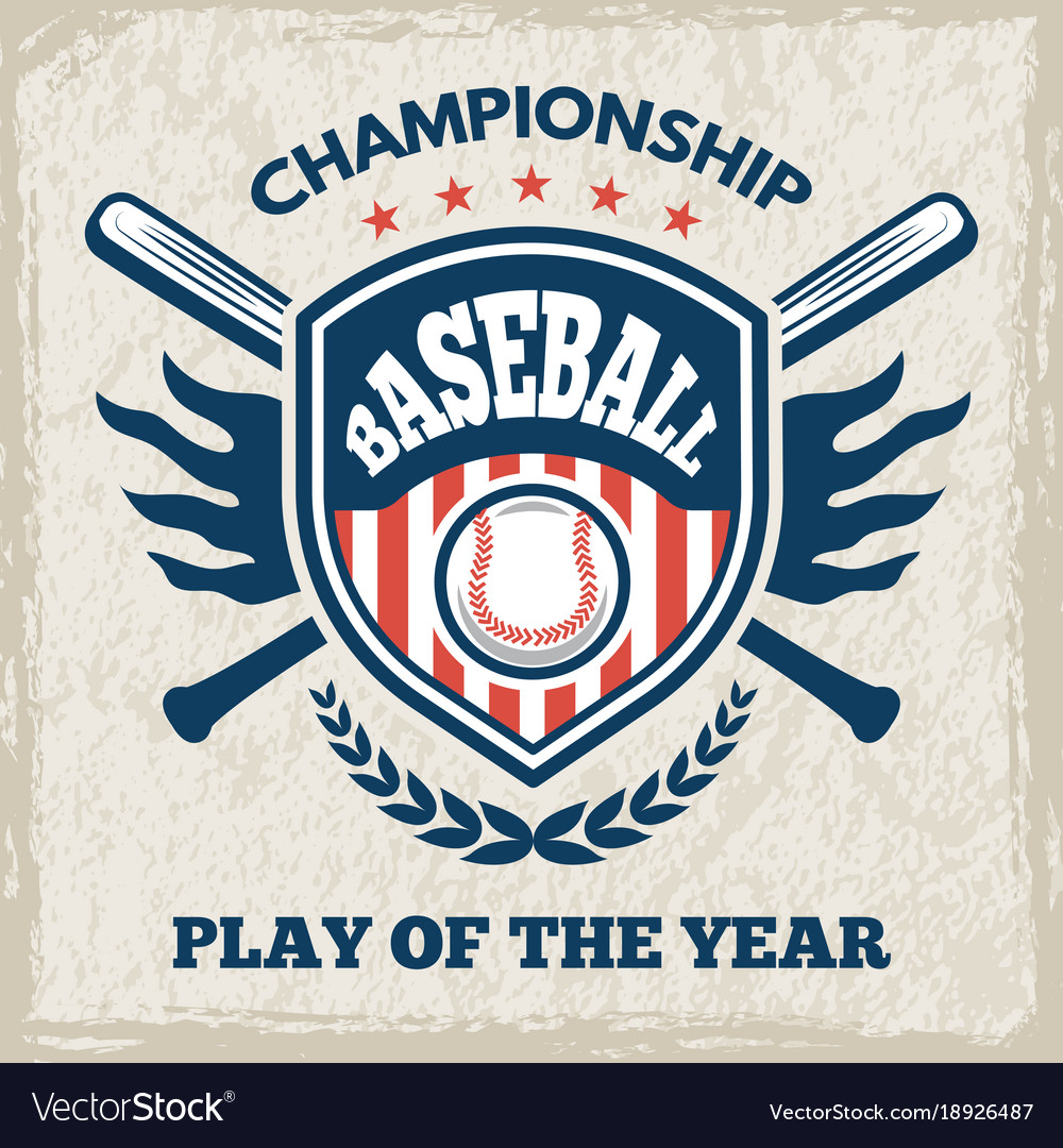 Retro poster for baseball club sport emblem in