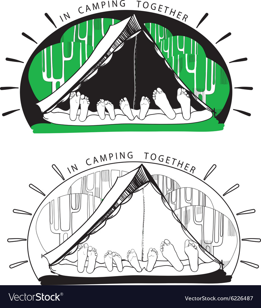 Silhouette variations of funny camping tents on