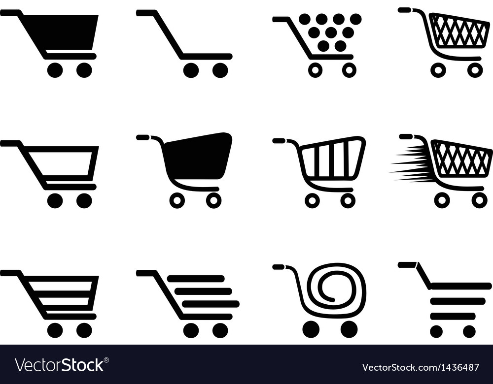 Simple shopping cart icons set
