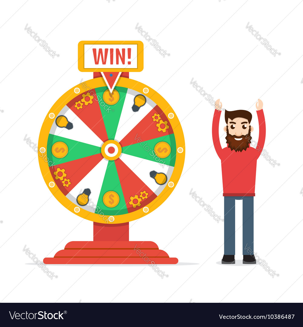 Wheel of fortune with man
