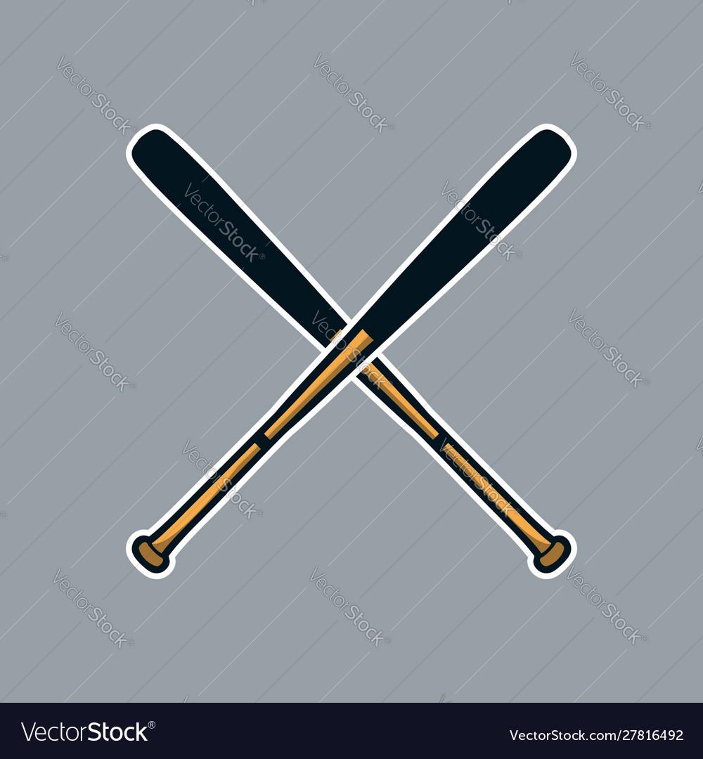 Baseball bat cross x logo icon asset