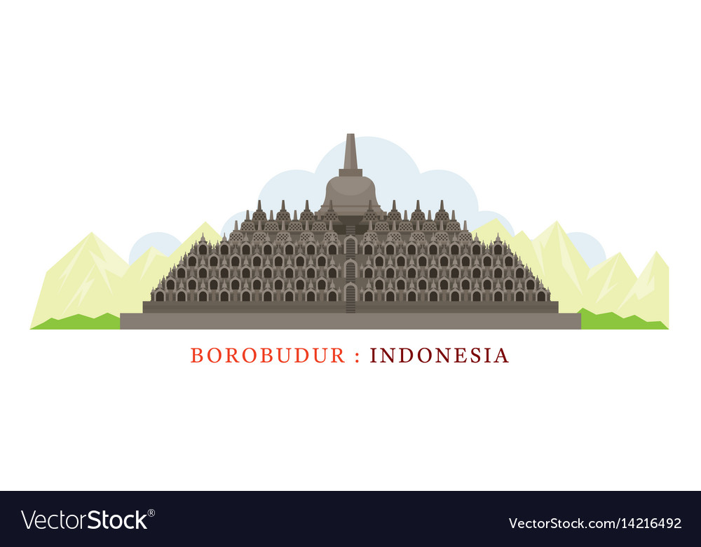 Borobudur indonesia vector image Borobudur indonesia Royalty