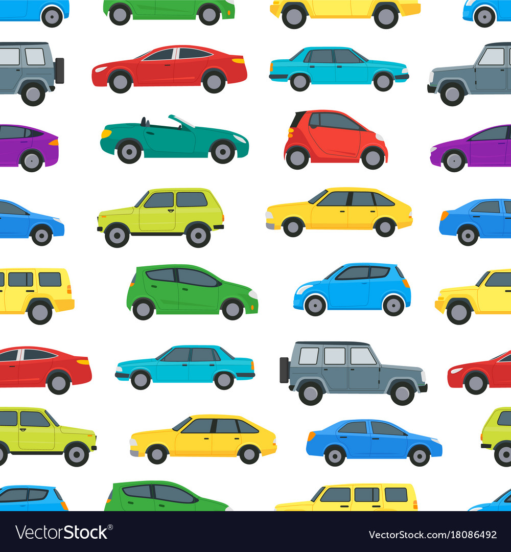 cartoon cars background pattern on a white vector image