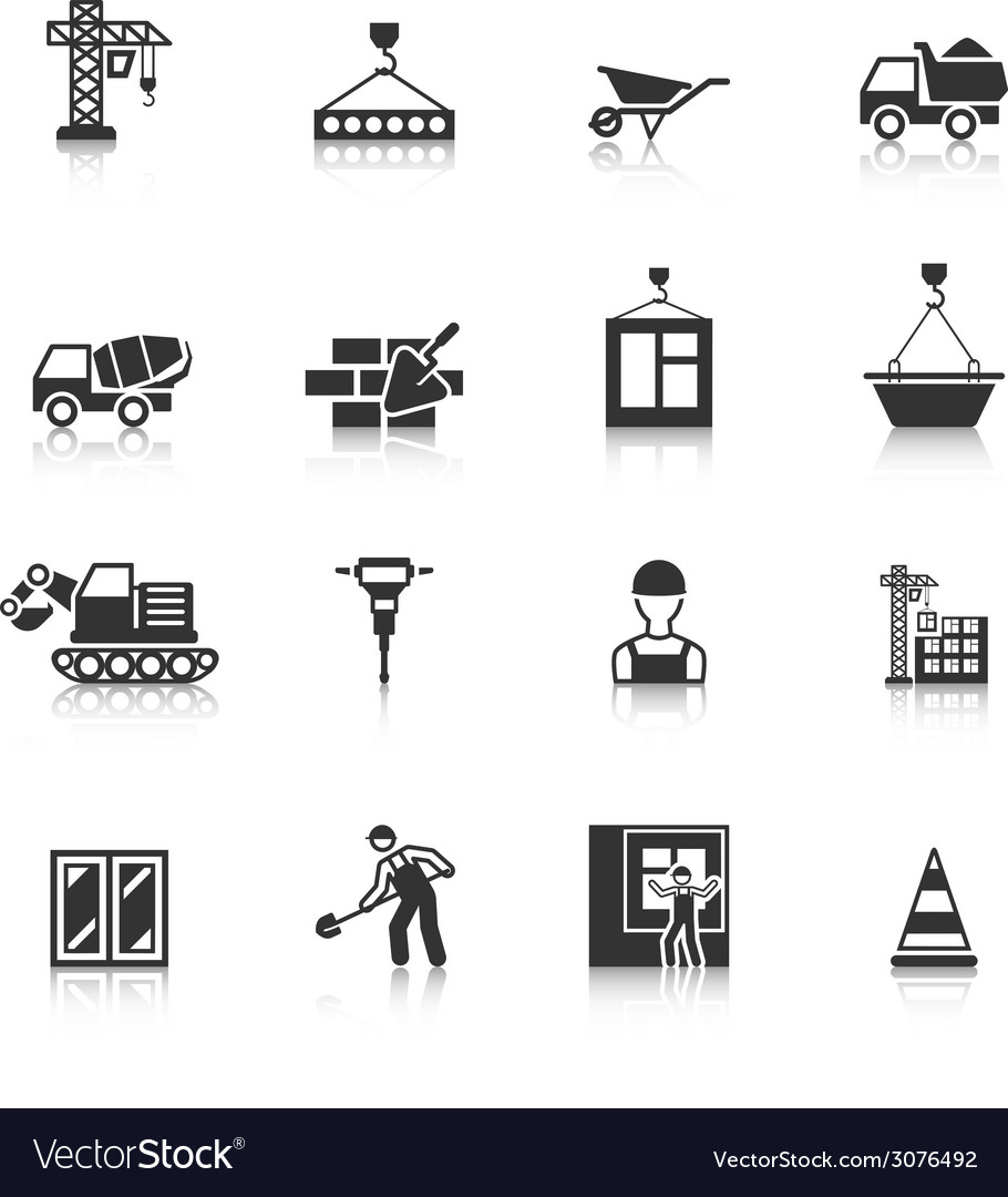 Construction Black Icons Set vector image