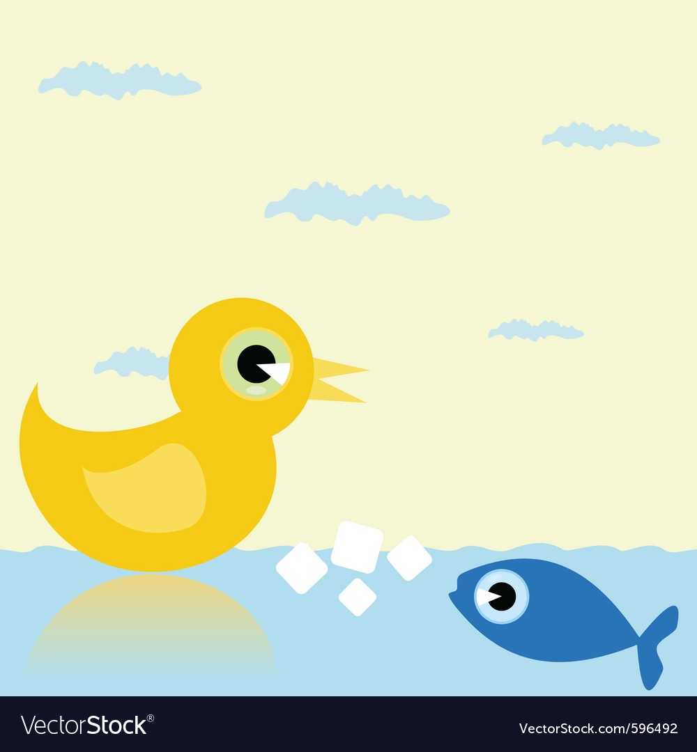 Duck and fish vector image