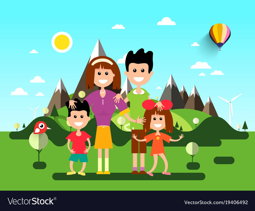 Family on holidays landscape with mountains on