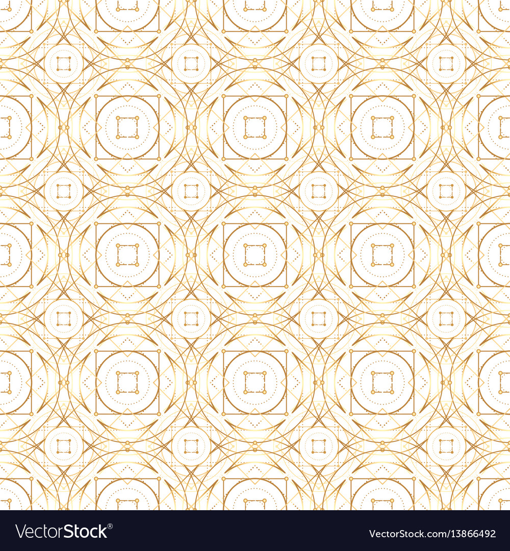 Golden abstract geometry seamless pattern