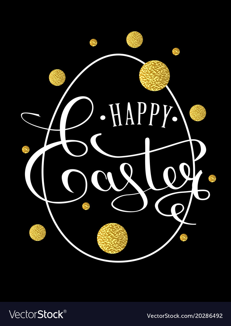 Happy easter lettering greeting card with doodle