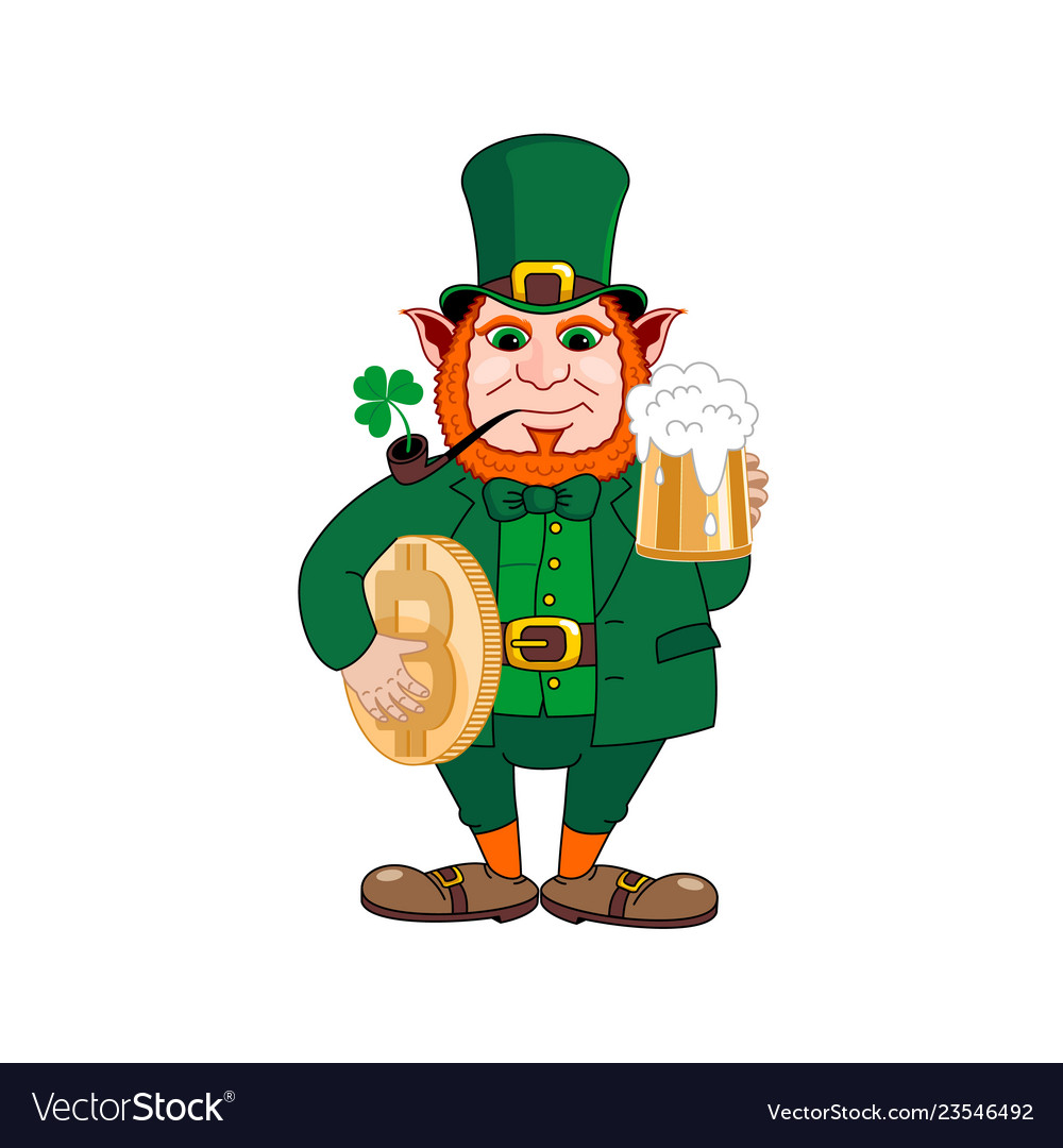 cc83cd7656 Leprechaun with a mug of beer a smoking pipe vector image