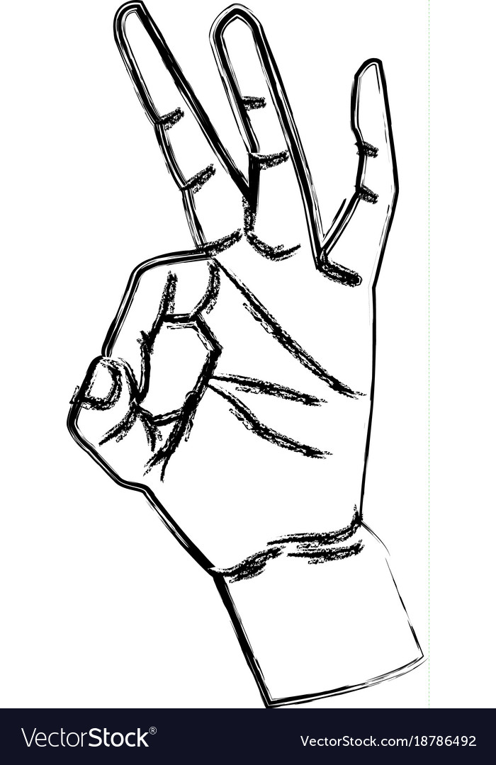 ok hand symbol pop art royalty free vector image