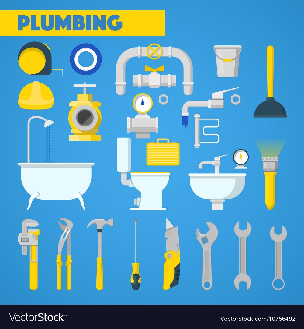 Plumbing Tools Set and Bathroom Elements