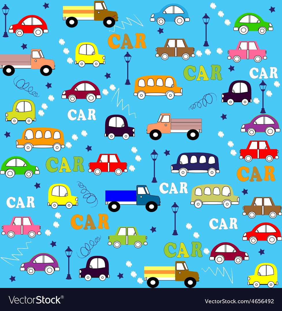 Seamless pattern trucks buses and cars