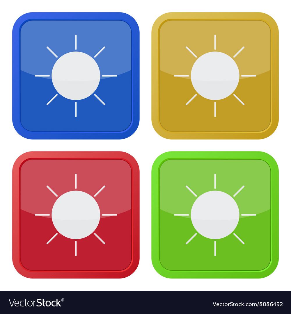 Set of four square icons with sun