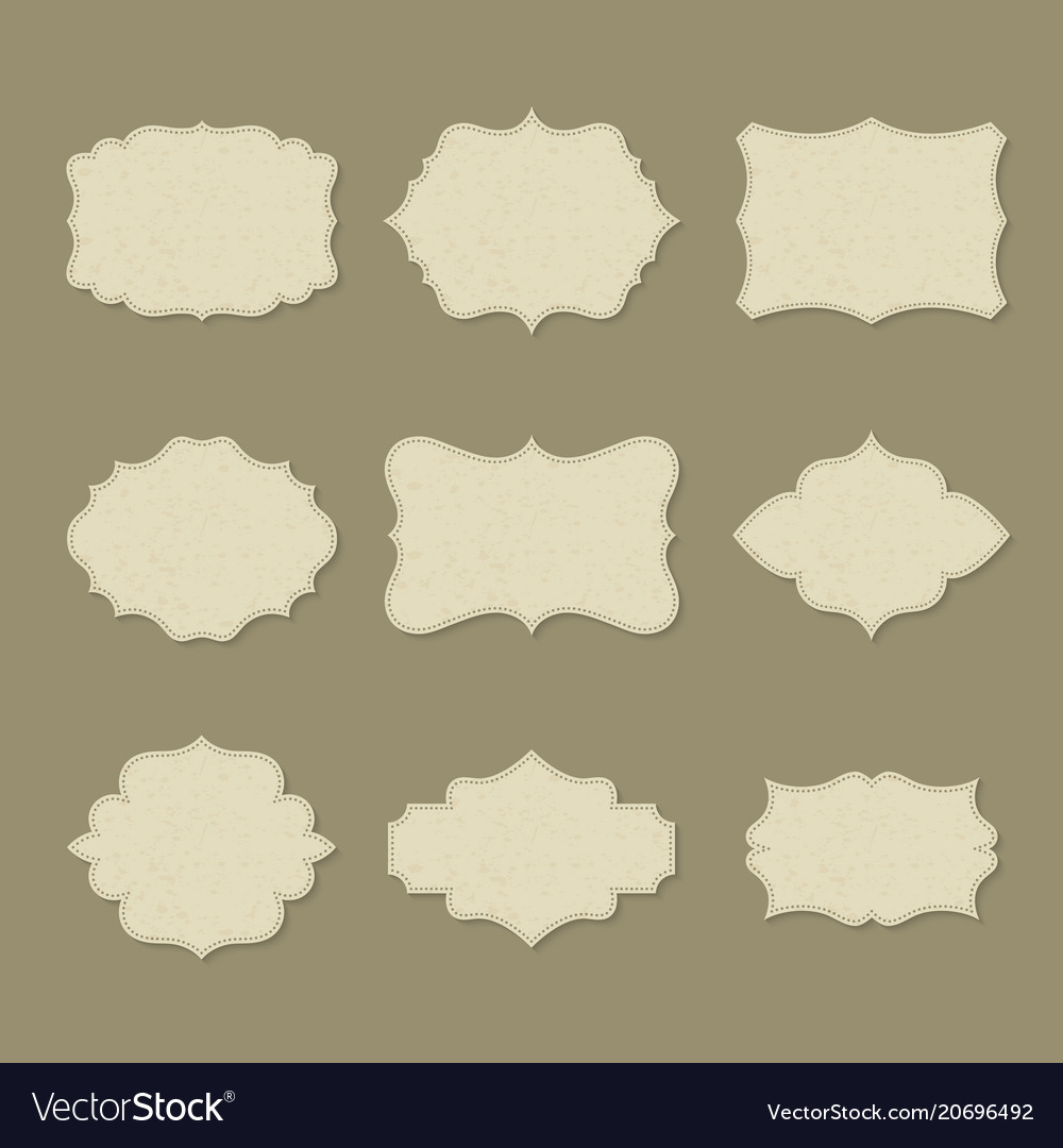 Set of isolated retro blank labels or empty logo vector image
