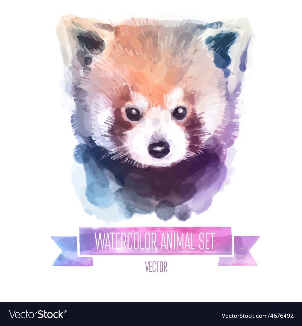 Set of watercolor Cute red