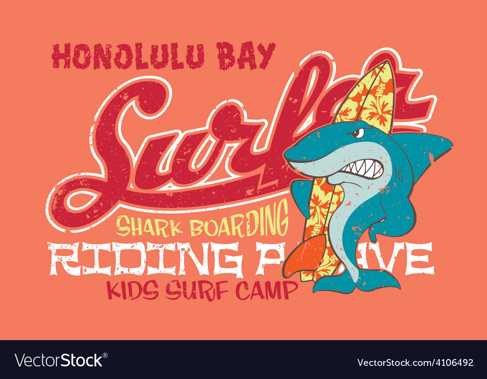 Surfing shark vector image