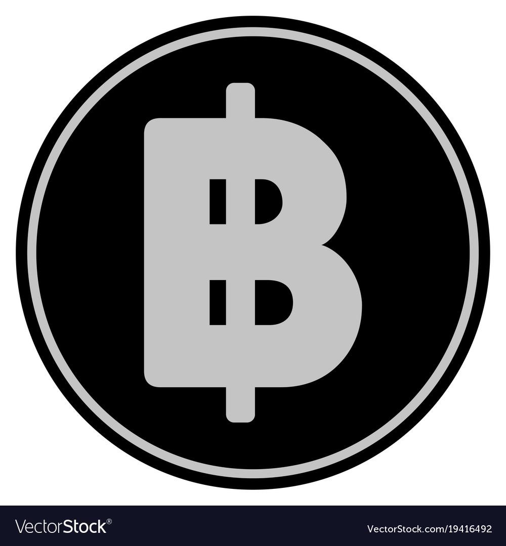 Thai Baht Black Coin Royalty Free Vector Image