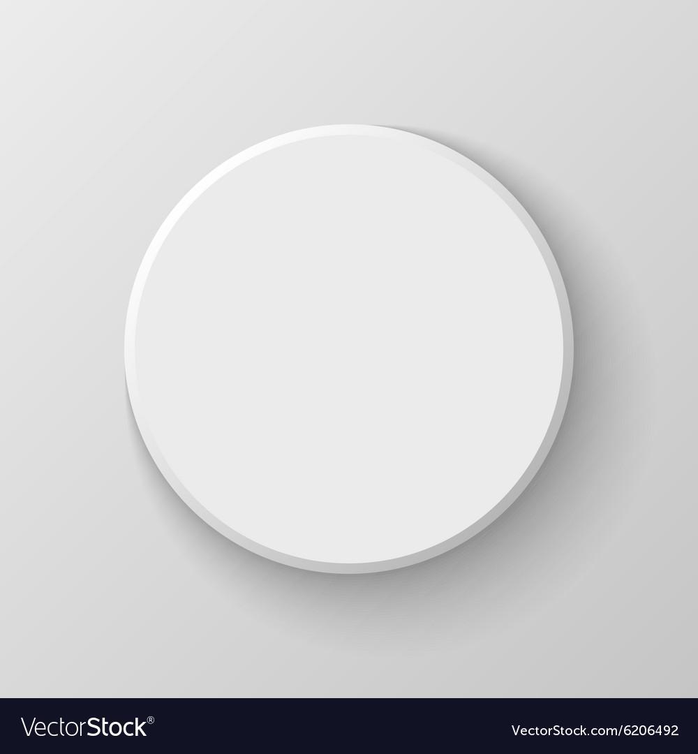 White Blank Circle Button Icon on Light Background