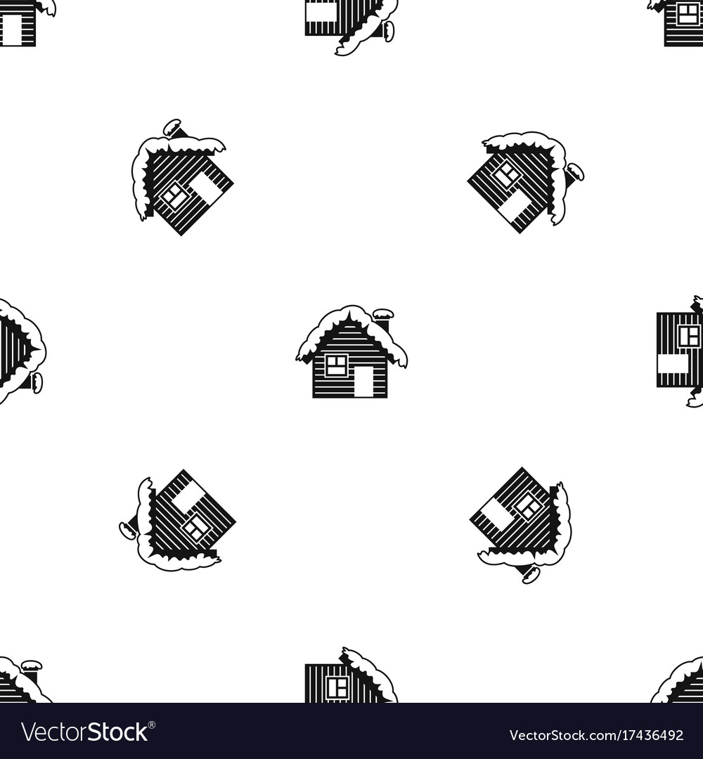 Wooden house covered with snow pattern seamless