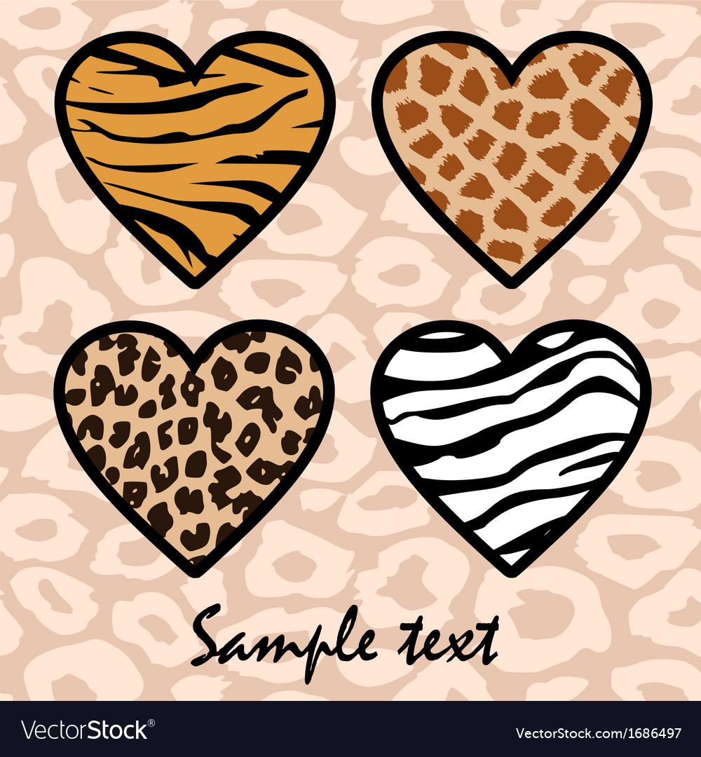Animal print hearts