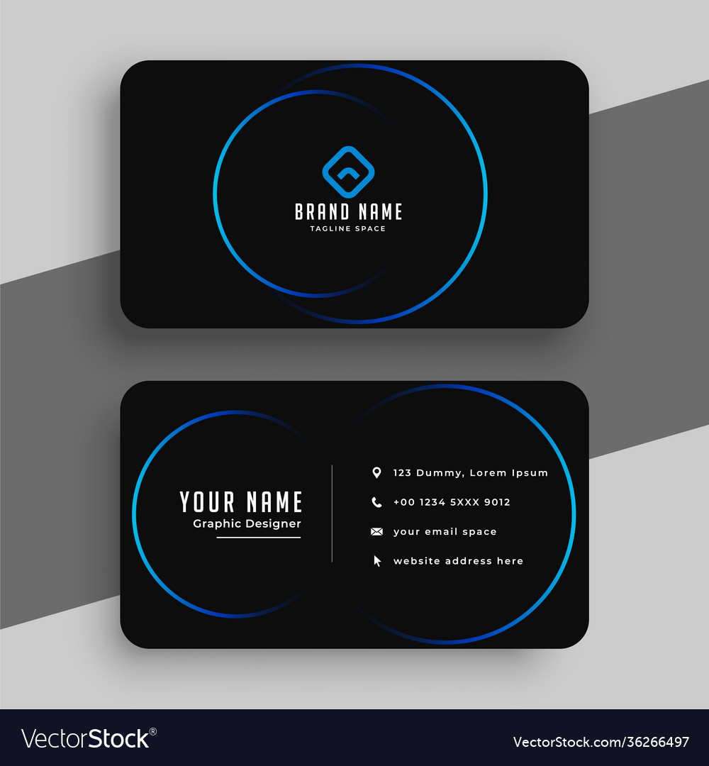 Black and blue minimal business card template