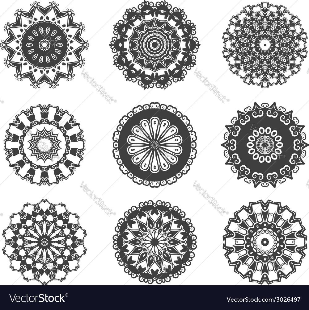 Circle vignette lace decorations set vector image