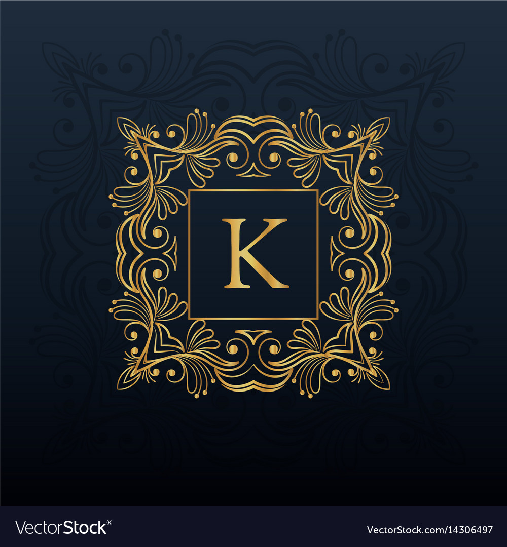 Classic floral monogram design for letter k logo