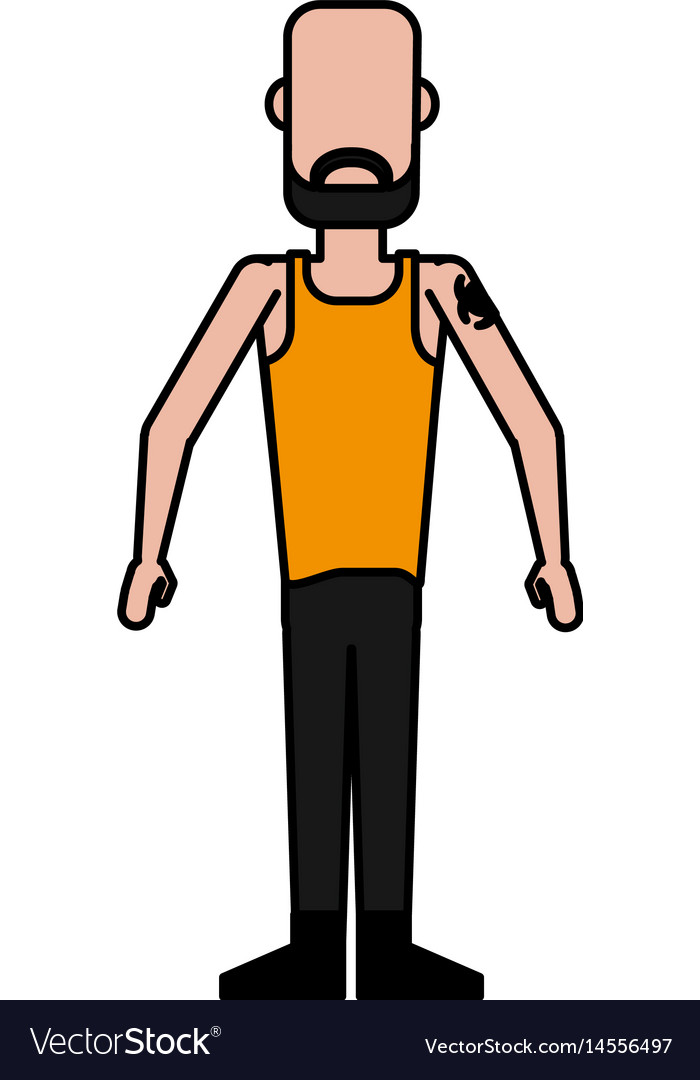 Colorful caricature image faceless man bald with