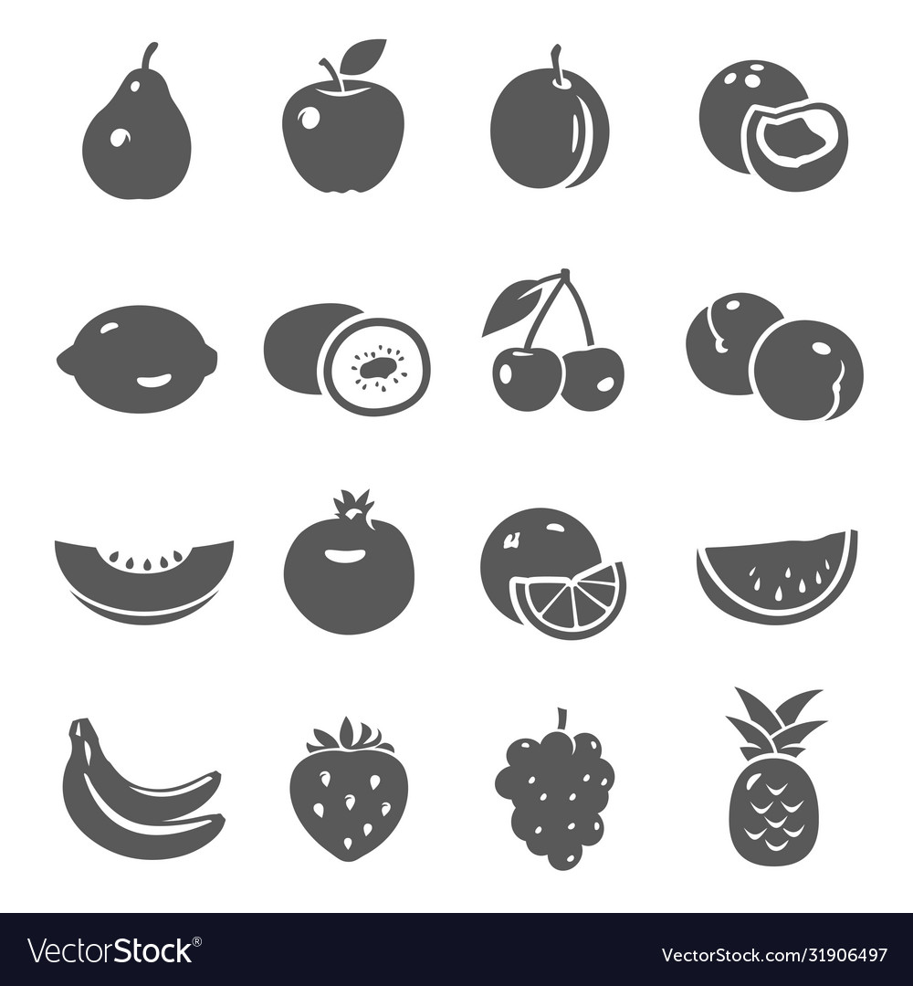 Fruits berries black silhouette bold icons set