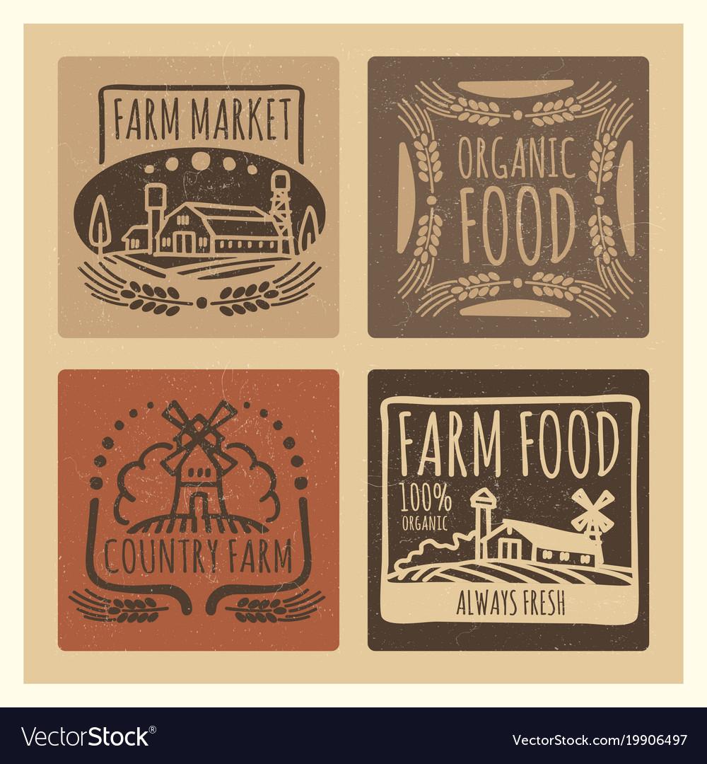 Grunge organic food farm market vintage labels