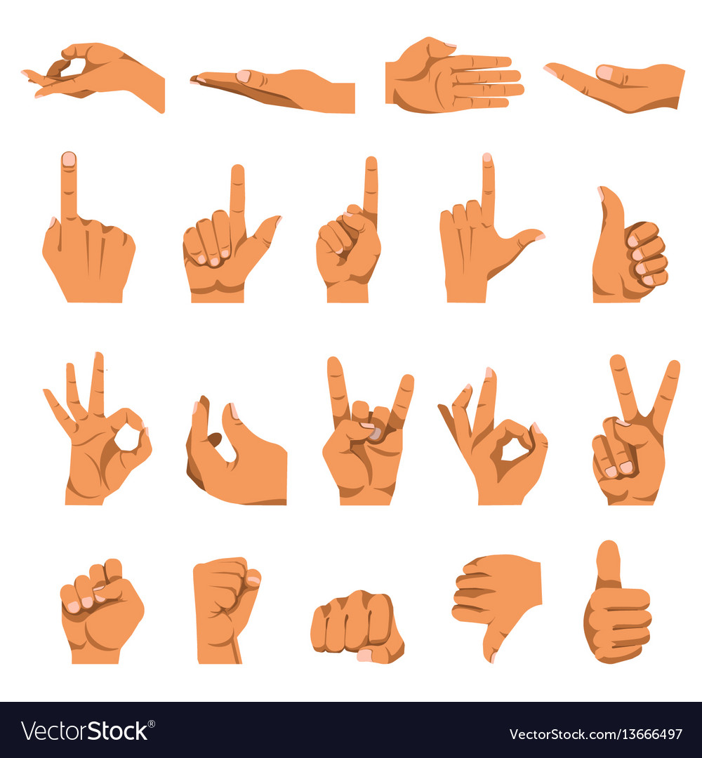 Hand and finger gestures flat isolated