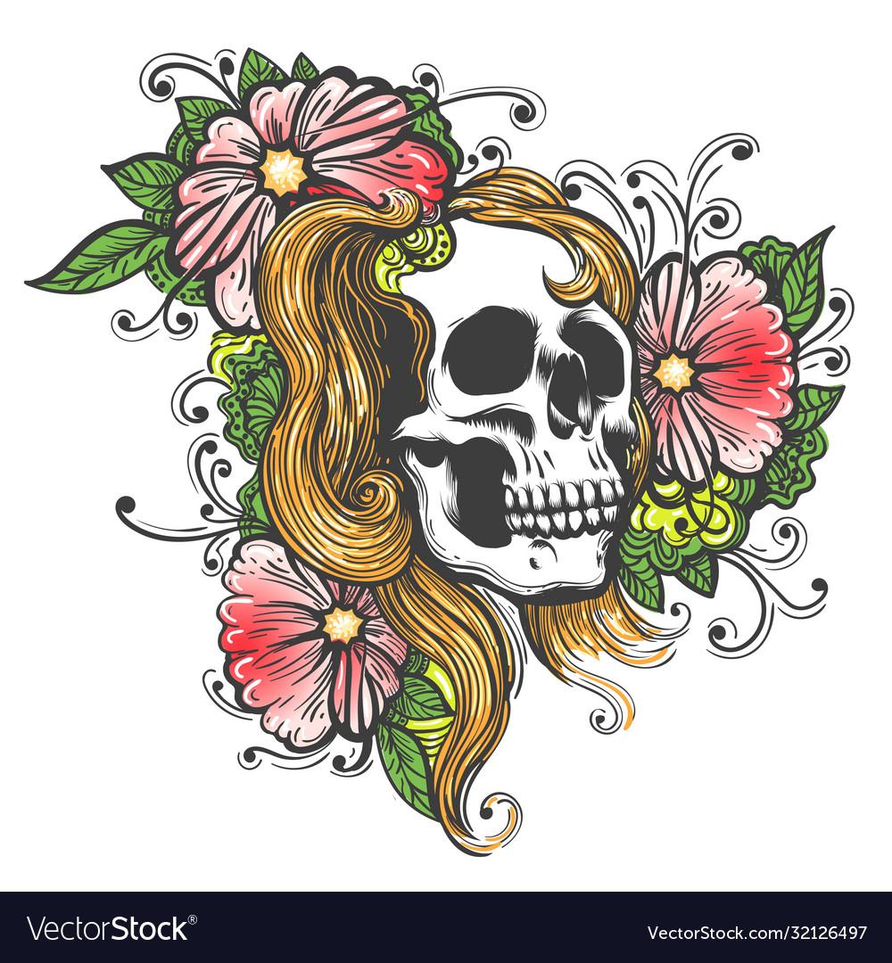 Hand drawn human skull with flowers tattoo
