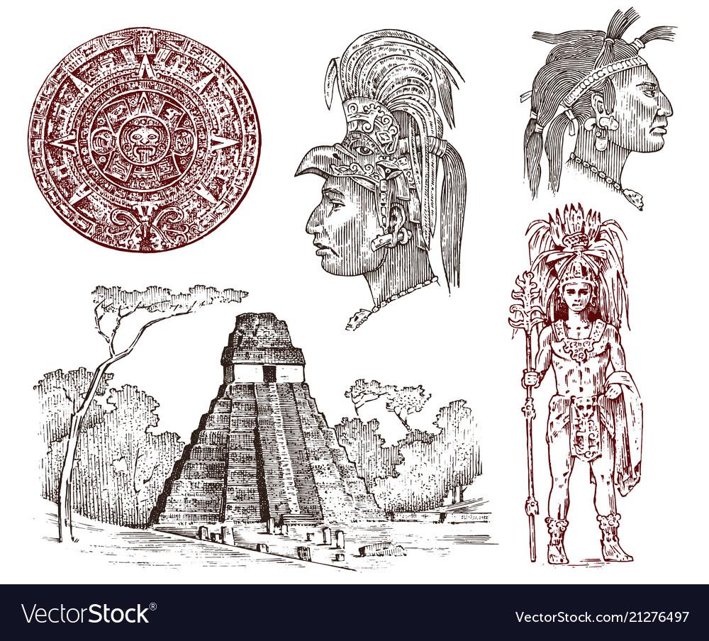 Maya vintage pyramid portrait of a man