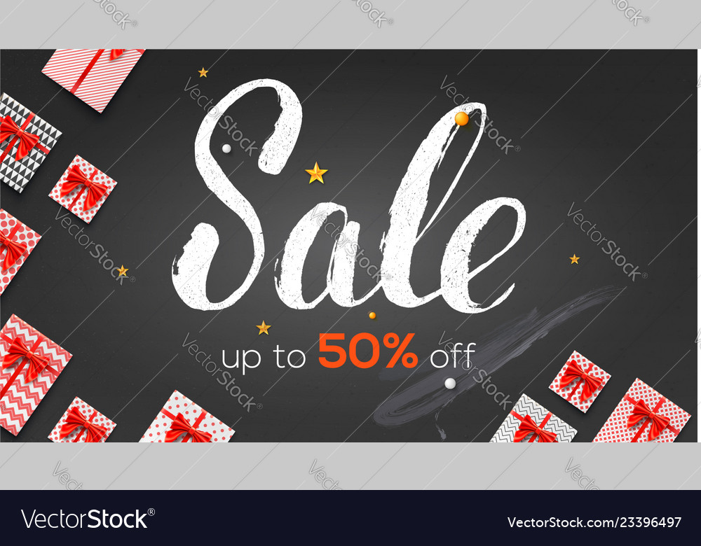 Sale ads banner template with present boxes up