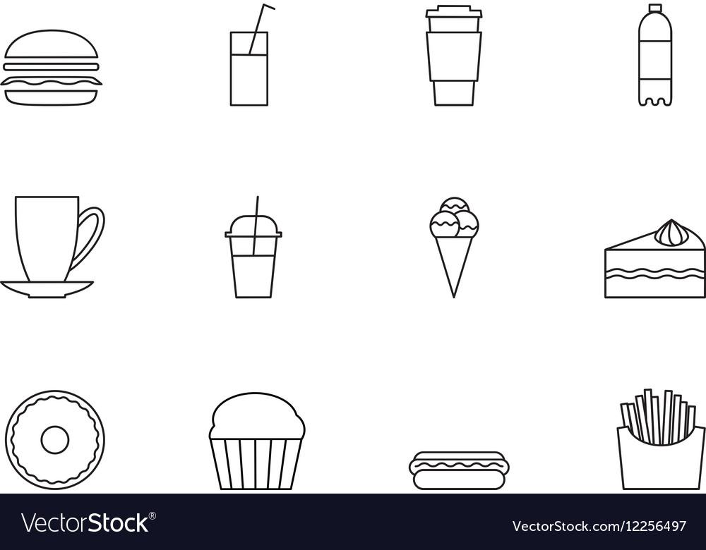 Snacks desserts and beverage outline icon set