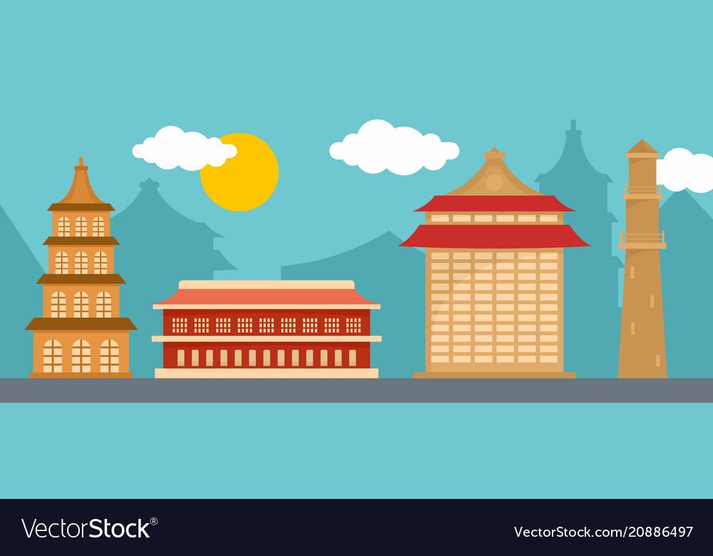 Taipei landmark banner horizontal flat style
