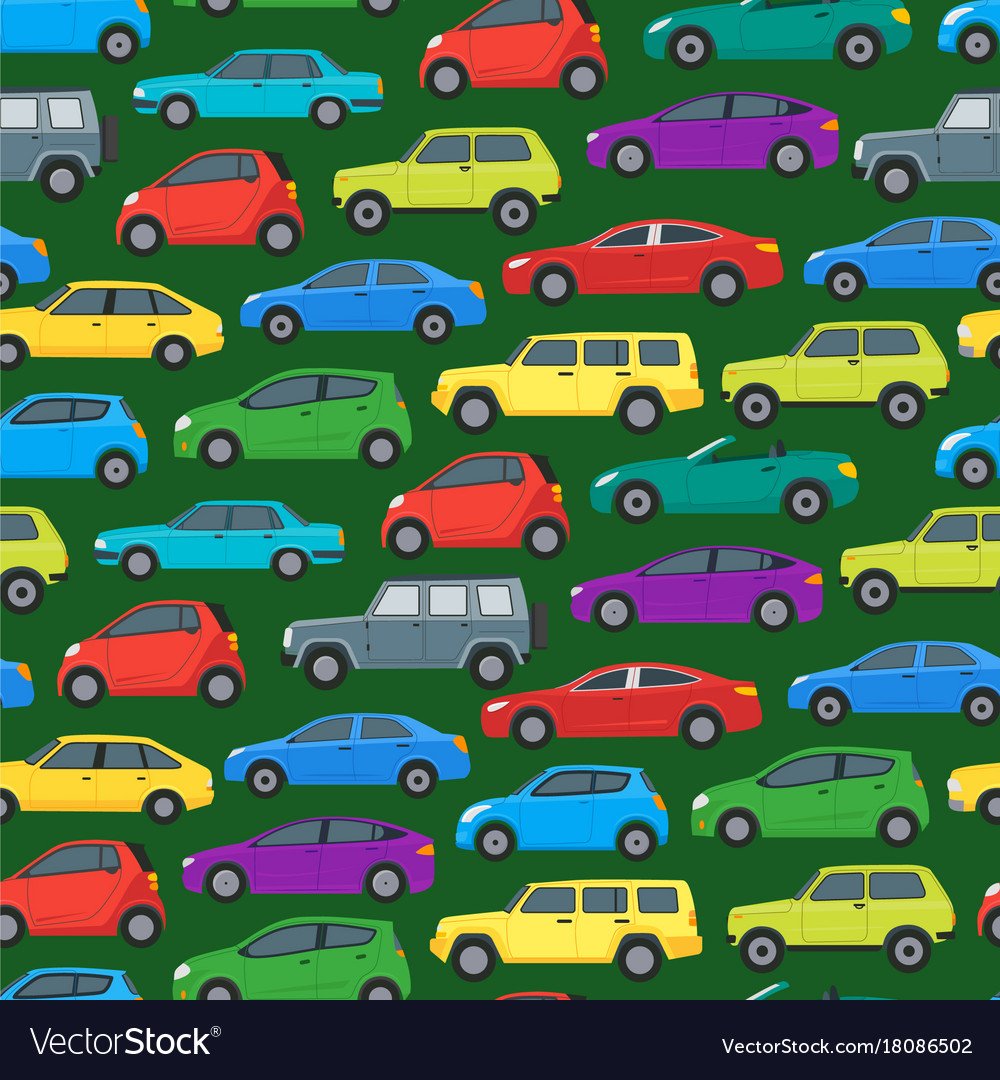 cartoon cars background pattern on a green vector image