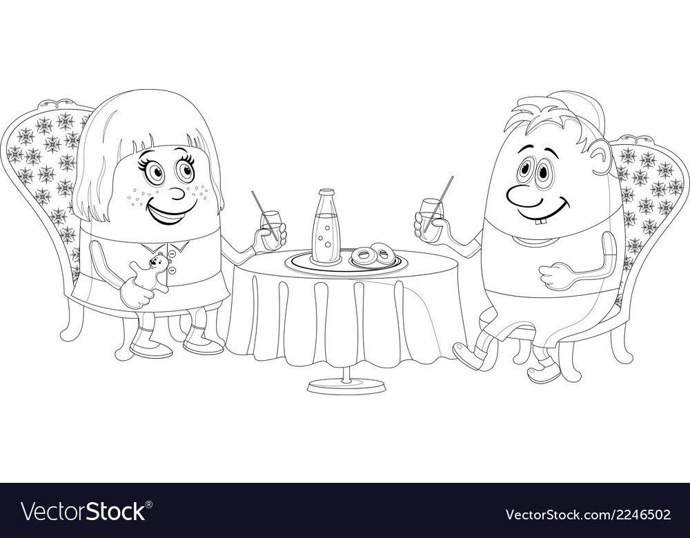 Children near table isolated contour