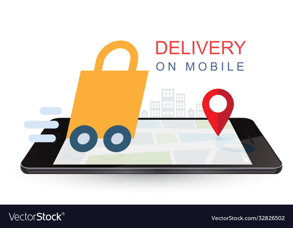 Delivery on mobile online shopping concept