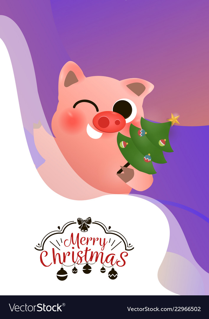 Funny smiling pig with decorated xmas tree poster